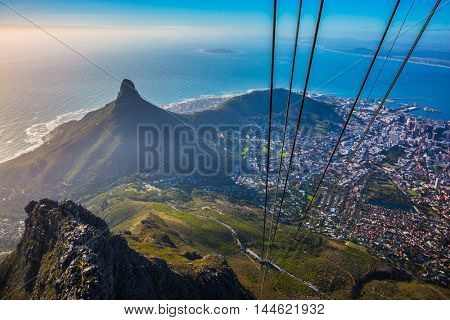 Travel to Africa. Panorama Cape Town, photographed from  cableway cabin. The concept of active tourism and recreation