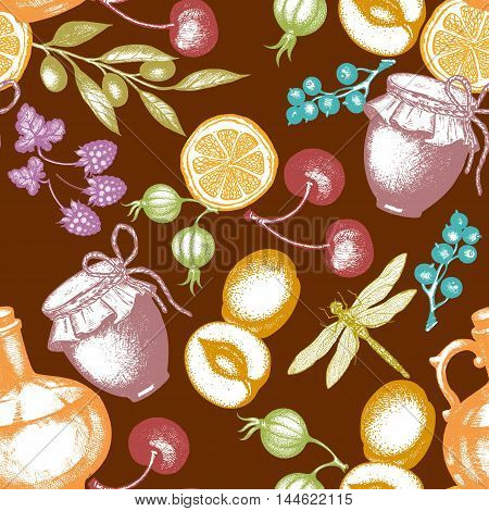 Harvest time seamless pattern berry fruit olives dragonfly ink hand drawn vector