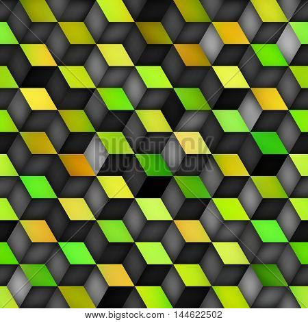 Vector Seamless Multicolor Green Yellow Gradient Cube Shape Rhombus Grid Pattern. Abstract Geometric Background Design