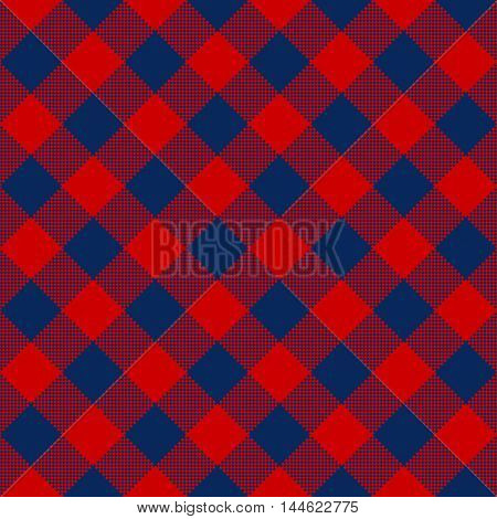 Blue red check diagonal textile seamless pattern. Vector illustration.