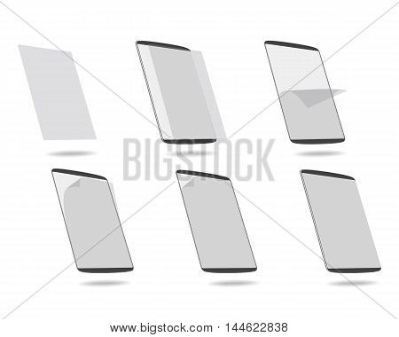 set apply screen protector tablet computer vector illustration
