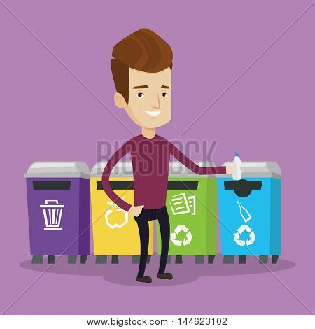 Man throwing away plastic bottle. Man standing near four bins and throwing away plastic bottle in an appropriate bin. Concept of garbage separation. Vector flat design illustration. Square layout.
