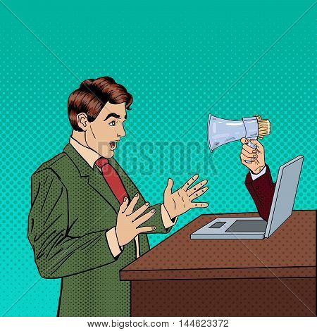 Web Advertising, Marketing and Spam - Hand with Megaphone Promoting Through Laptop on Business Man. Pop Art Vector illustration
