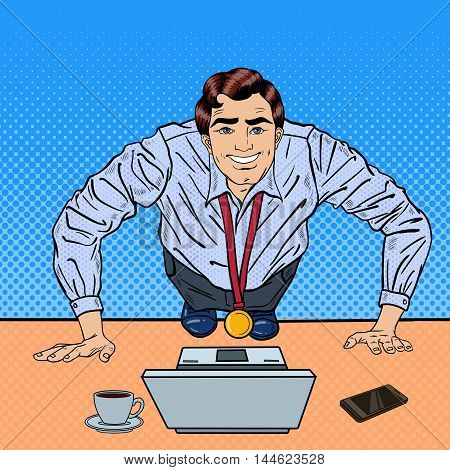 Successful Pop Art Business Man with Medal Doing Push-ups on the Office Table with Laptop. Vector illustration