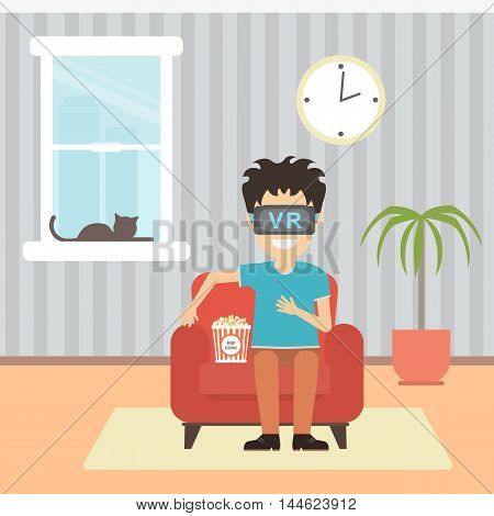 Isolated vr man. Young smiling man using vr glasses sits on armchair with popcorn on white background. Home entertainment. Augmented reality, new technologies. 3D film.