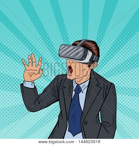 Amazed Business Man in Virtual Reality Goggles. Pop Art Vector illustration