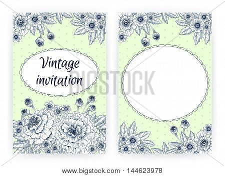 Greeting card with marigolds. Floral template for flyer, banner, brochure, invitation, poster. Flourishing natural background with blooming flowers in vintage graphic style. Vector illustration.