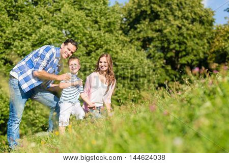 Family sitting on meadow with child waving hands