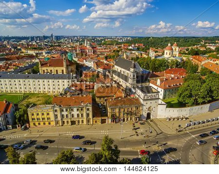 AERIAL. Old Town in Vilnius, Lithuania: the Gate of Dawn, Lithuanian: Ausros Vartai, Polish: Ostra Brama. Beautiful representative photography