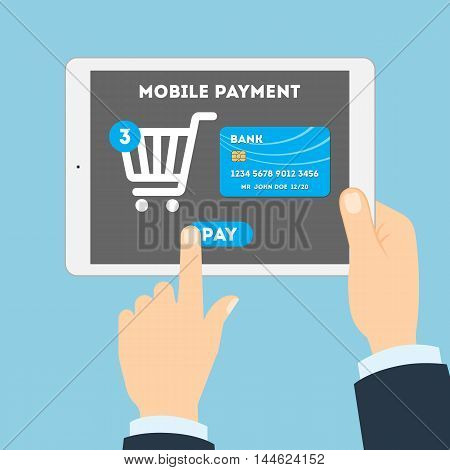 Mobile payment concept. Easy transaction with mobile banking. Credit card in tablet. Payment through internet. Online shopping. Shopping cart.