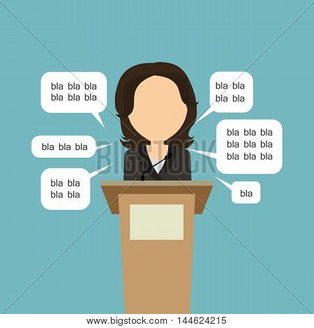Blah blah politician. Concept of lie on debates or president election. Blank template face with speech bubbles. Woman speaker.