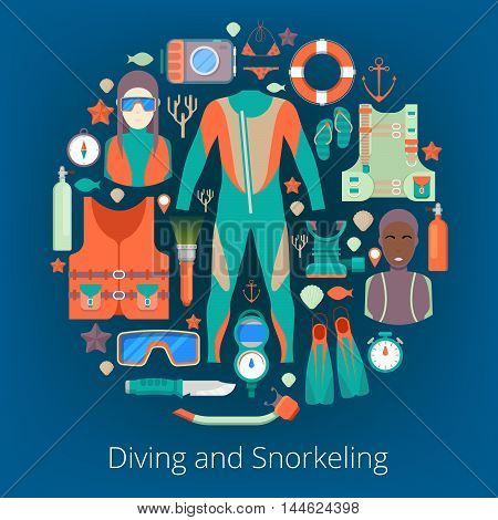 Diving and Snorkeling Icons Set with Scuba Equipment. Vector illustration