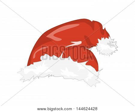 Isolated Santa hat. Symbol of Christmas and New Year. Santa Claus clothes element. Red hat with white fur.