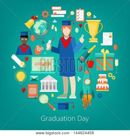 Graduation Day Party Icons Set with Happy Student, Certificate and Diploma. Vector illustration