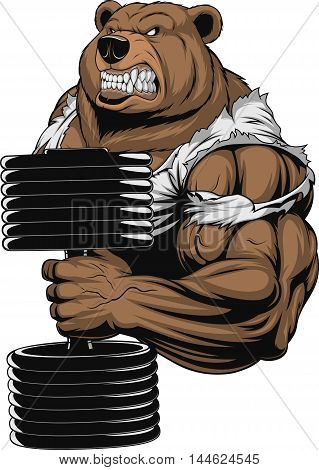 Vector illustration a ferocious bear the athlete performs the exercise for biceps with dumbbells