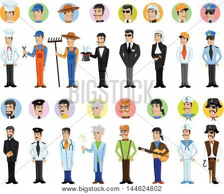 Cartoon cute vector characters of different professions