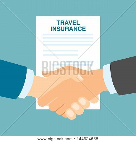 Travel insurance handshake. Including, medical, health care and family protection. Agreement in travel agency.