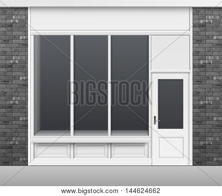 Vector Classic Shop Boutique Building Store Front with Glass Windows Showcase, Closed Door and Place for Name Isolated on White Background