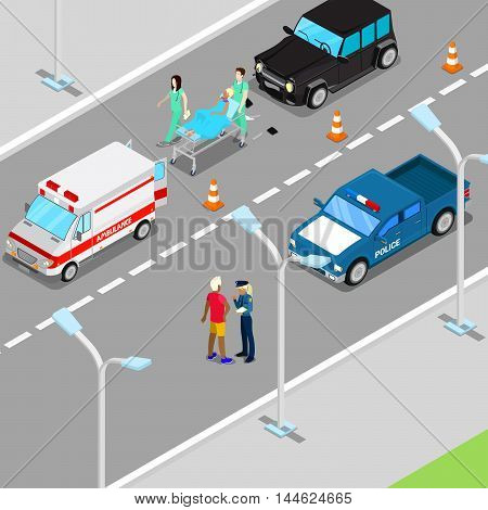 Isometric City Car Accident with Ambulance and Police Vehicle. Vector illustration