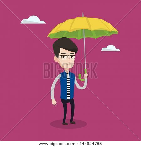 Young businessman standing with open umbrella on the background of sky. Businessman under open umbrella. Happy man with umbrella. Vector flat design illustration. Square layout.