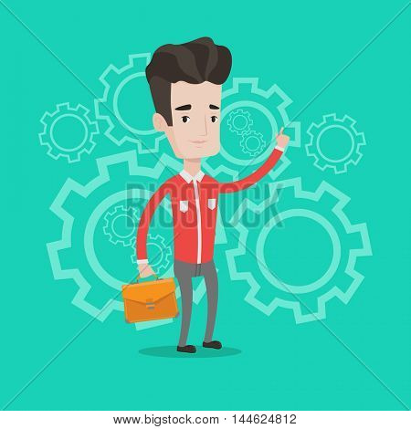 Businessman with a briefcase pointing his forefinger up on the background with cogwheels. Man having a business idea. Successful business idea concept. Vector flat design illustration. Square layout.
