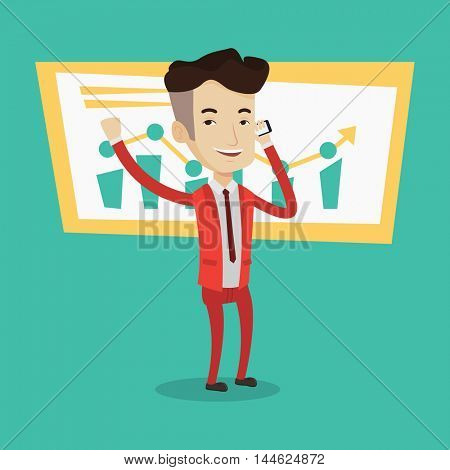 Businessman raising his arm while getting good news on mobile phone near the growth chart. Concept of business stock exchange trading, business success. Vector flat design illustration. Square layout.