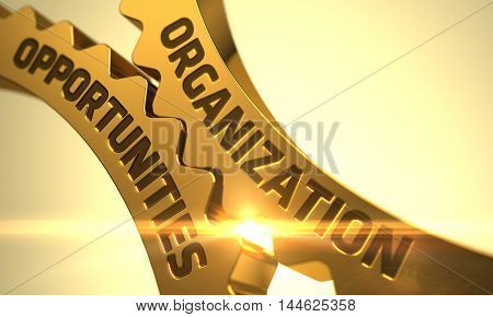 Organization Opportunities on the Golden Cog Gears - Industrial Design. 3D Illustration.