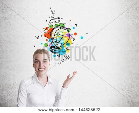 Business Woman And Colorful Small Light Bulb