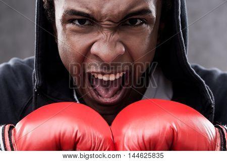 Enraged African American Boxer