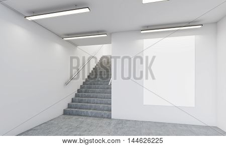 Hall With Stairs And Poster