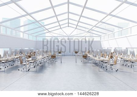Attic Office In Big City