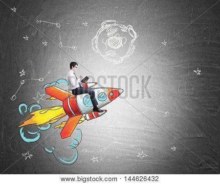 Businessman riding rocket flying on blackboard background. Space sketch. Concept of business development