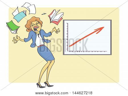 Cartoon illustration of overjoyed and happy business woman because business chart is showing growth and success. Woman and business success.