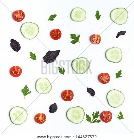 Composition cucumber slices, tomatoes, fresh herbs and sesame seeds. The concept of vegetable salad, organic food, healthy eating and a healthy lifestyle