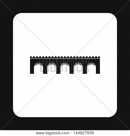Long bridge icon in simple style isolated on white background. Construction symbol