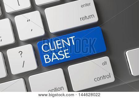 Client Base Concept Modern Laptop Keyboard with Client Base on Blue Enter Keypad Background, Selected Focus. 3D Render.
