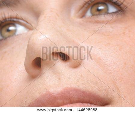 close up shot of a woman nose