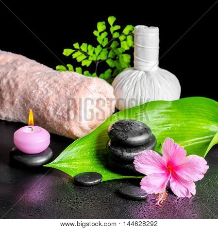 Beautiful Spa Composition Of Pink Hibiscus Flower, Leaves, Thai Herbal Compress Ball, Towel, Candle
