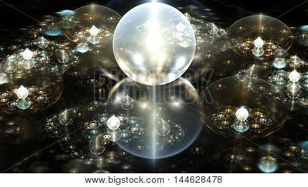 Water drops mirror surface. Crystal ball. 3D surreal illustration. Sacred geometry. Mysterious psychedelic relaxation pattern. Fractal abstract texture. Digital artwork graphic astrology alchemy magic