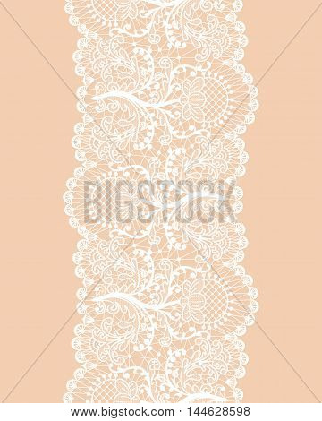 Seamless floral lace border on beige background