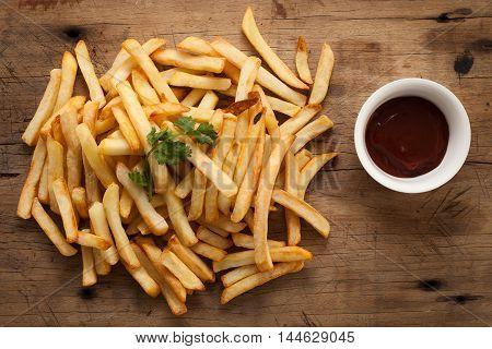 Fries French Ketchup Herb Still Life Flat Lay