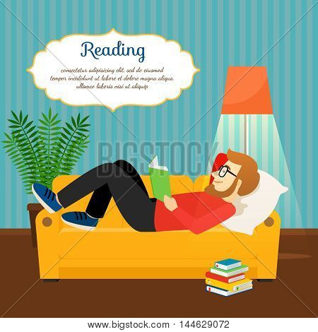 Young man reading book on comfortable sofa. Relax and home relax vector illustration
