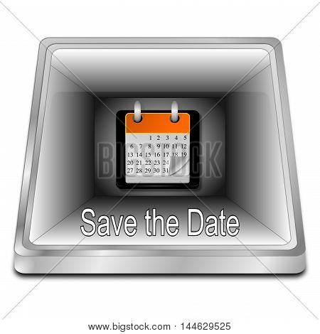 silver Save the Date Button - 3d illustration