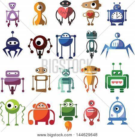Set of 20 cute vector small robots