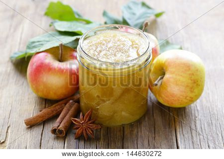 homemade apple jam confiture with cinnamon and brown sugar