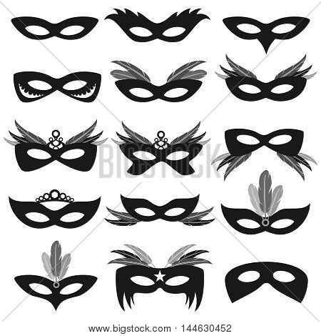 Black carnival party face masks isolated on white vector. Set of mask for theater and carnival illustration