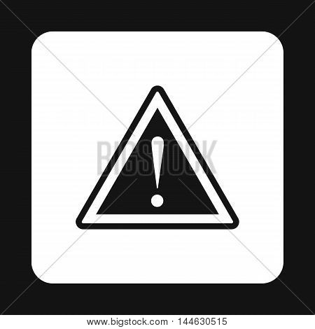Road sign warning icon in simple style isolated on white background. Alert symbol