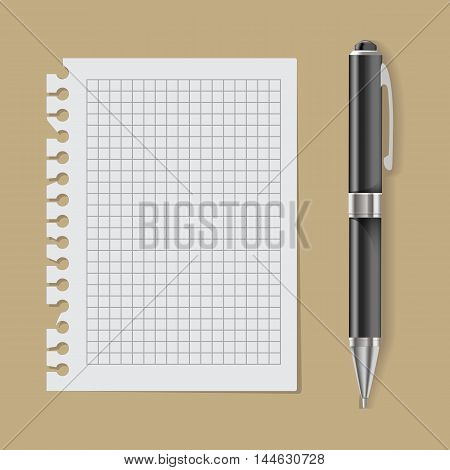 Vector White Paper with Pen isolated on background, realistic pen