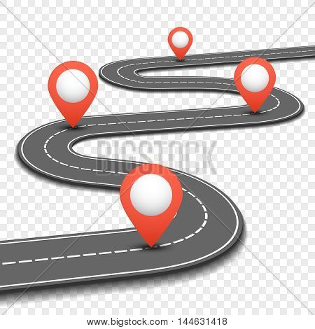 Car road, street, highway business roadmap infographics design. Way and direction plan with red pins sign. Vector illustration
