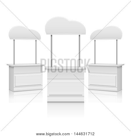 White blank promotion trade stand. Empty mockup counter, vector illustration